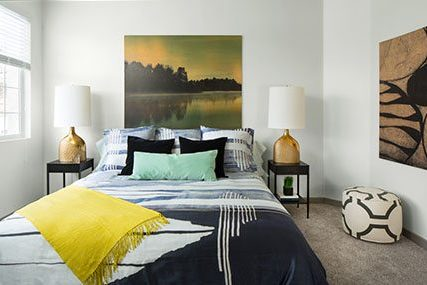 bedroom at Griffis Belleview Station apartments in Denver
