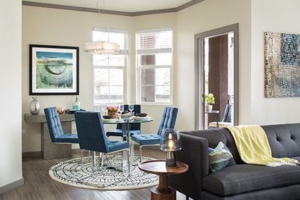 living and dining area at Griffis Belleview Station apartments in Denver
