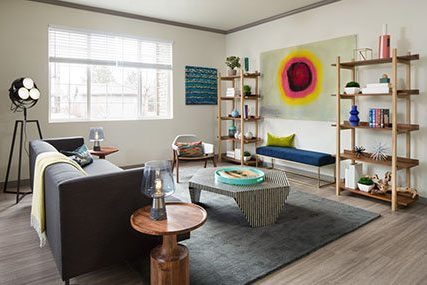 spacious living room at Griffis Belleview Station apartments in Denver