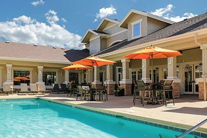 Griffis Residential Fitzsimons South community clubhouse and resort-style swimming pool.