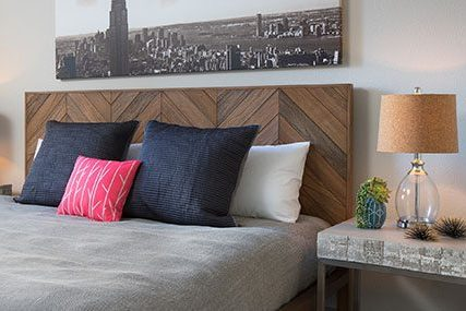 Close-up of a premium Griffis Residential SoCo Austin apartment home bedroom.