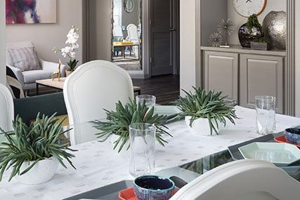 Close-up of a sleek dining room in a SoCo Austin apartment home.