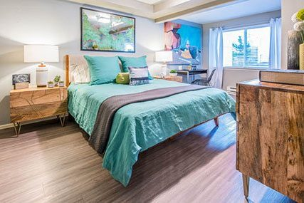 spacious bedroom at Griffis Belltown apartments in Seattle