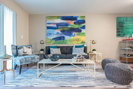 living room at Griffis Belltown apartments in Seattle
