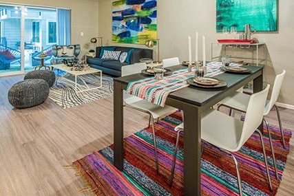 living and dining area at Griffis Belltown apartments in Seattle