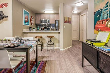 dining and kitchen area at Griffis Belltown apartments in Seattle