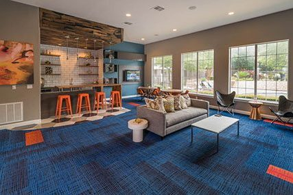 resident clubhouse at Griffis Lakeline Station apartments in Austin