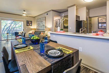 open living area at Griffis Lakeline Station apartments in Austin
