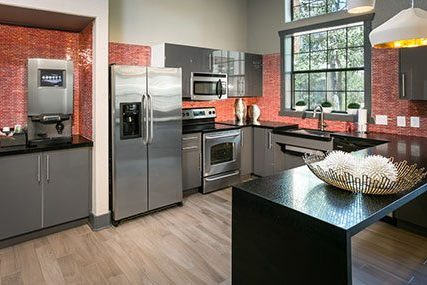 Fully-equipped, open-concept kitchen in the Griffis Westminster Center community clubhouse