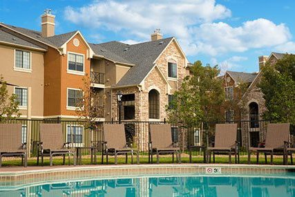 Griffis Westminster Center community resort-style pool in front of the apartment homes