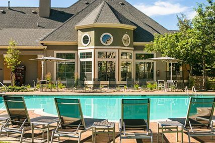 Griffis Residential Westminster Center community clubhouse and resort-style pool.