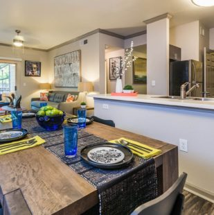 spacious living and ding at Griffis Lakeline Station in Austin