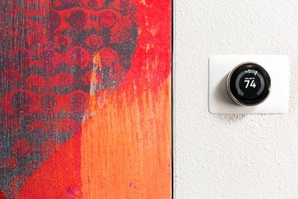 Nest thermostats at Griffis Pine Avenue apartments in Long Beach