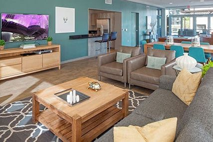 resident lounge at Griffis South Waterfront apartments in Portland