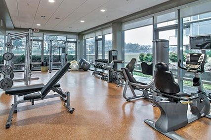 24 hour fitness center at Griffis South Waterfront apartments in Portland
