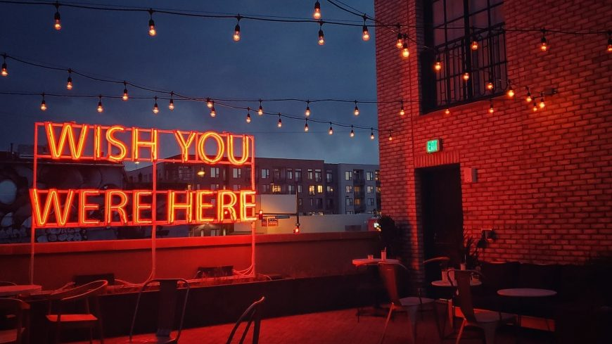 Wish you were here neon rooftop sign 1920x1080