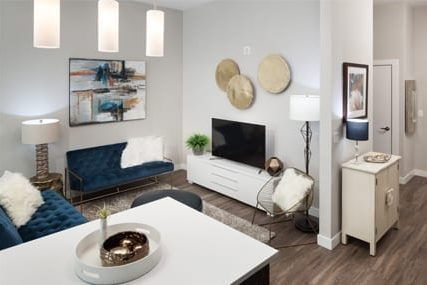 updated living room at Griffis Cherry Creek North apartments in Denver