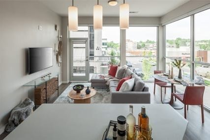 well lit open living area at Griffis Cherry Creek North apartments in Denver